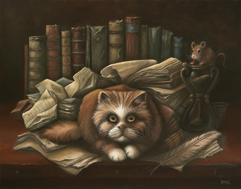 Persian cat with books and mouse